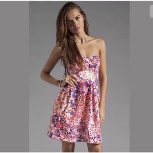 Shoshanna strapless floral dress sz 6 pink floral